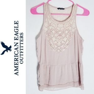 American Eagle Pink Lace Tank Top Sz S